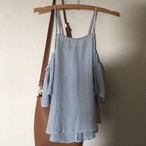 Cold shoulder striped top